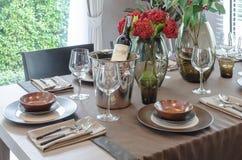 Luxury table set on wooden dinning table Stock Photos