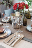 Luxury table set on wooden dinning table Royalty Free Stock Images