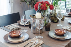 Luxury table set on wooden dinning table Stock Photography
