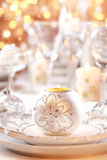 Luxury table setting for Christmas Stock Photos