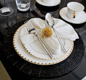 Luxury table setting for dine in hotel Royalty Free Stock Photos