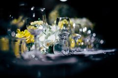 Luxury Table setting for party, Christmas, holidays and weddings royalty free stock photo