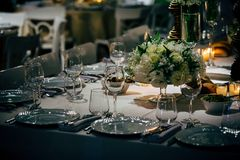 Luxury Table setting for party, Christmas, holidays and weddings Royalty Free Stock Photography