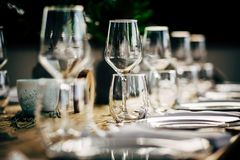 Luxury Table setting for party, Christmas, holidays and weddings.  Royalty Free Stock Image