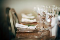 Luxury Table setting for party, Christmas, holidays and weddings Stock Photo