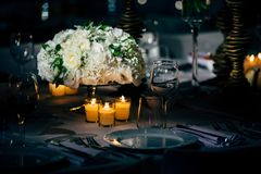 Luxury Table setting for party, Christmas, holidays and weddings.  Stock Image