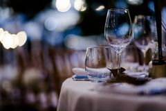 Luxury Table setting for weddings and social events. stock images