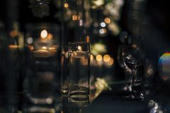 Luxury Table setting for weddings and social events. Luxury table settings for fine dining with and glassware, beautiful blurred  background. For events Royalty Free Stock Photos