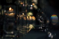 Luxury Table setting for weddings and social events. Luxury table settings for fine dining with and glassware, beautiful blurred  background. For events Stock Photo