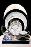 Luxury tableware. Set of plates and glasses Stock Photo
