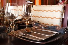 The luxury tableware. On a table Stock Photography