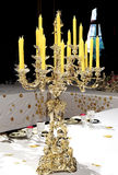 Luxury Tableware with Candlestick in royal palace Stock Photos