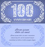 Luxury template with floral frame and a decorative pattern for the 100 years anniversary. There is a place for text vector illustration