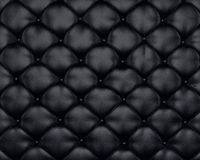 Luxury texture of black leather furniture with buttons. On it Royalty Free Stock Photo
