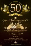 50th anniversary logo with golden flowers  isolated on black background stock illustration