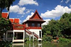 Luxury Thai wooden house near the lake Stock Photography