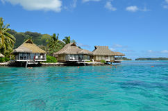 Luxury thatched roof honeymoon bungalows Royalty Free Stock Photos