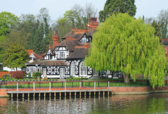 Luxury Timber Framed Riverside House Stock Photo