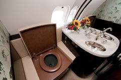 Luxury Toilet on Board Business Jet Royalty Free Stock Photos