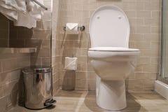 Luxury Toilet Bowl And Sanitary Bin In Hotel Stock Photo