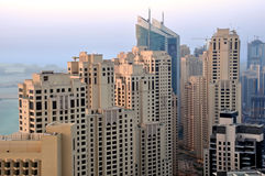Luxury Towers. A cluster of residential towers overlooking the Gulf Sea in Dubai Stock Image