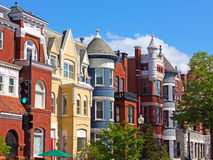 Luxury townhouses of the US capital. Stock Photos