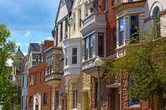 Luxury townhouses of US capital in spring. Royalty Free Stock Images