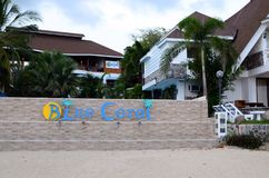 luxury tropical beach resort cute bungalows standing on white sand beach Royalty Free Stock Images