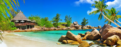 Luxury tropical holidays. Seychelles islands Royalty Free Stock Images