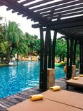 Luxury tropical resort with outdoor pool and spa Royalty Free Stock Photos