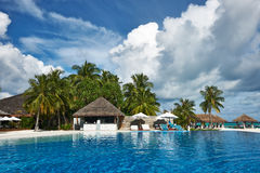 Luxury tropical swimming pool. Luxury swimming pool in the tropical hotel Stock Photo