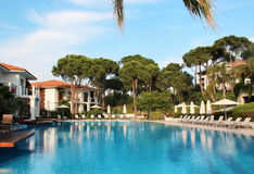 Luxury Turkish hotel. Very nice and cozy hotel on the Mediterranean sea Royalty Free Stock Photos