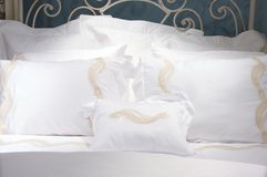 Luxury upscale bedding and linens Stock Image