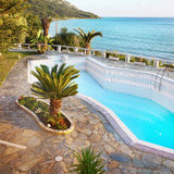 Luxury Vacation Villa, Swimming Pool Royalty Free Stock Images