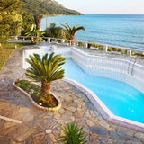 Luxury Vacation Villa, Swimming Pool Royalty Free Stock Photography