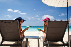 Luxury vacation for woman. White tropical beach Stock Photo