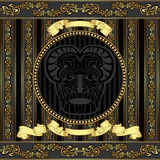 Luxury vector design viking head with golden patte. There is luxury viking head with golden  background Royalty Free Stock Image