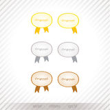 Luxury vector rating ribbons. Gold, silver and bronze, three lev Stock Image