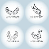Luxury vector tattoo wings  logo template set. Royalty Free Stock Photography