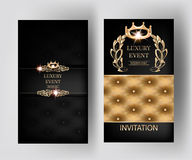 Luxury vertical elegant vintage banners with leather texture and floral design elements. Vector illustration Stock Photography