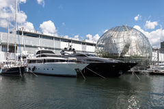 Luxury vessels in the port of Genoa, Italy Stock Photos