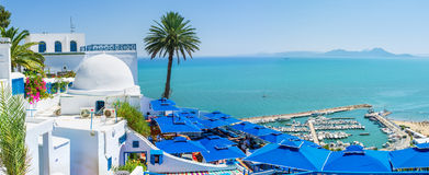 The luxury view. SIDI BOU SAID, TUNISIA - AUGUST 31, 2015: All the luxury restaurants and hotels in tourist village located on the mountain top and boast the Stock Image