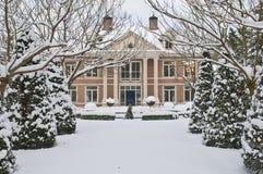 Luxury villa. Covered with snow stock photos