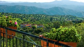 Luxury villa balcony view of beautiful nature, mountains on horizon, ecotourism. Stock footage royalty free stock photos