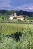 Luxury villa in Chianti, Tuscany, Italy. Vineyard in Chianti, famous landscape in Tuscany, Italy stock image