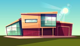 Modern villa exterior front view cartoon vector stock illustration