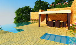 Luxury Villa garden - Day time Stock Image
