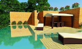 Luxury Villa garden - Day time Stock Photos