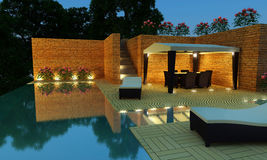 Luxury Villa garden - Night time. Outdoor luxury villa with infinity pool and gazebo for relax time Stock Photo