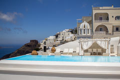 Luxury villa in Greece. Luxury hotel with swimming pool royalty free stock photo
